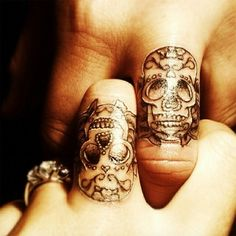 sugar skull tattoos, skull finger tattoos and skull tattoos. Skull Finger Tattoos, Finger Tattoo Designs, Couples Tattoo Designs, Sugar Skull Tattoos, Body Art Tattoos, Cool Tattoos, Sugar Skulls, Candy Skulls, Knuckle Tattoos