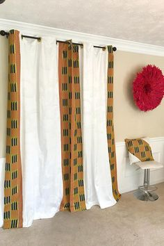 Get 2 African print curtains for the price of Your house don't have to be so conventional. Our awesome African Print double side window curtains transform a neglected essential into an awesome statement piece. Featuring a double-sided print. Printed Curtains, Printed Cushions, Home Curtains, Window Curtains, Van Curtains, Salon Art Deco, African Interior Design, African Home Decor, Curtain Designs