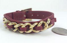 Red Gold Chainlink Adjustable Bracelet Statement Leatherette