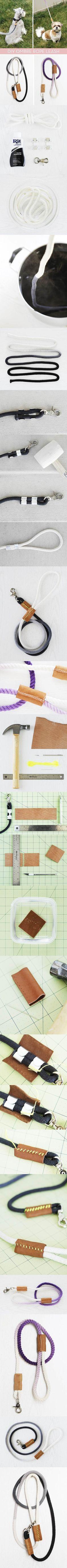 DIY Modern Dip-Dyed Rope Dog Leash
