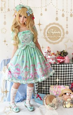 Infanta Dolly House One Piece Dress 3 Colors, Mint/Light Pink/Pale Yellow