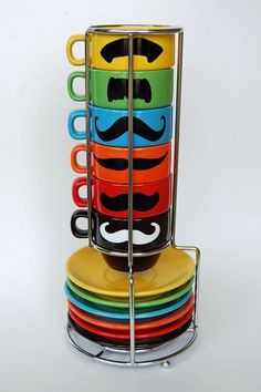 Mustache Espresso Mugs and Saucers  An espresso cup and saucer that is sure to make your morning! Or at least make you feel more masculine, maybe?Sold on Etsy.