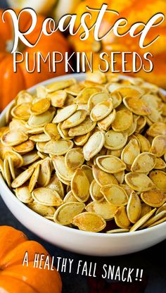 These roasted pumpkin seeds are coated in butter and seasonings, then baked until golden brown. Homemade Pumpkin Seeds, Roasted Pumpkin Seeds, Roast Pumpkin, Baked Pumpkin, Healthy Low Calorie Meals, Healthy Snack Options, Healthy Eating, Pumpkin Dishes, Pumpkin Recipes