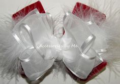 """Fancy Red Velvet White Organza Marabou Hair Bow Big & Full 4.5"""" Wide Bow Red…"""