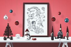 Surprise - Charming Christmas - black and white illustration / coloring poster Neutral Color Scheme, Color Schemes, Poster Colour, Black And White Illustration, All Poster, How To Draw Hands, Coloring, Gallery Wall, Things To Come