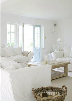 New House Living Room White Decor Ideas Coastal Living Rooms, Living Room White, White Rooms, Home Living Room, Living Spaces, Cottage Living, White Walls, White Ceiling, Small Living