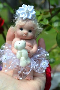 "Original Art OOAK Polymer Clay baby doll girl 4"" April by Yulia Shaver"