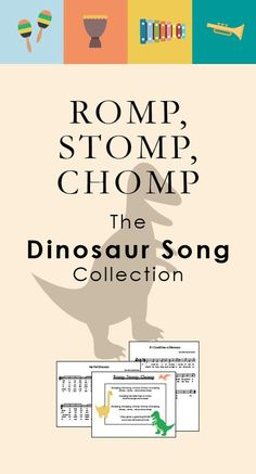 Romp, Stomp, Chomp: The Dinosaur Song Collection — We Are the Music Makers Dinosaur songs for kids! They'll have you romping, stomping, and chomping all … Music For Toddlers, Music Lessons For Kids, Music Lesson Plans, Singing Lessons, Piano Lessons, Kindergarten Music Lessons, Elementary Music Lessons, Kids Music, Music Music