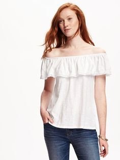 fcfc1c0b713ca5 Lace-Trim Off-Shoulder Top for Women Frock Fashion