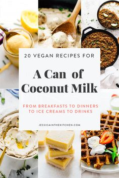 20 Vegan Recipes that Use a Can of Coconut Milk Have a can of coconut milk and don't know what to do with it? Here are 20 Easy Vegan Recipes that Use a Can of Coconut Milk! They range from breakfast to dinners to ice creams to drinks! Vegan Recipes Easy, Whole Food Recipes, Vegetarian Recipes, Cooking Recipes, Scd Recipes, Recipes Using Coconut Milk, Coconut Milk Desserts, Coconut Milk Frosting, Whipped Coconut Milk