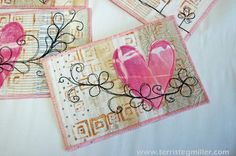 Terri Stegmiller Art Quilts: Valentine's Day Postcard Tutorial.  This could be a mug rug.