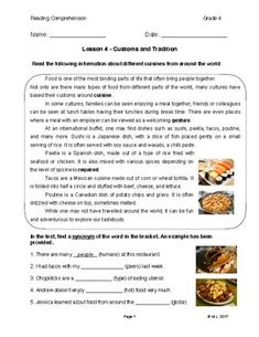 This lesson is targeted at Grades 3-4 ESL learners. The theme is Customs and Traditions, and the topic focus is international food. Learning focus is on vocabulary (synonyms) and complete sentence responses. Critical thinking responses may be taught through topic-related discussion based on student level.