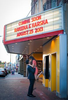 Movie Theater Engagement Photoshoot | Colonial Theater | Phoenxville, PA