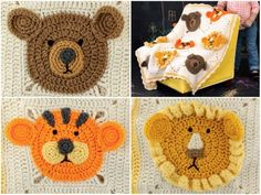 Crochet Lion Bear Tiger Granny Square Blanket Free Pattern