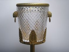 Antique French Crystal /Brass Lion Ice Bucket & Stand Cooler Stand, Wine Bucket, Buckets, French Antiques, Glass Art, Champagne, Lion, Wall Lights, Victorian
