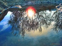 """""""Sunset in the water""""...Las Condes, Santiago, Chile."""