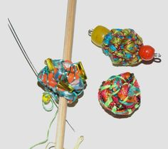 Making Fabric Beads – Janet Haigh : Her Work Fabric Beads, Paper Beads, Fabric Art, Fabric Crafts, Paper Crafts, Textile Jewelry, Fabric Jewelry, Textile Art, Bead Crafts