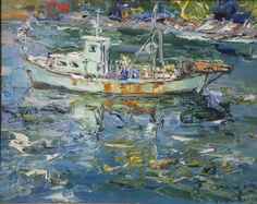 Tuman Zhumabaev Kyrgyz-born in village of Karasu, Kirghizia; based in Russia) Boat Art, Russian Painting, Impressionist Art, Artist At Work, Contemporary Artists, Art Gallery, Artwork, Pictures, Paintings