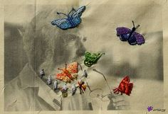 His thoughts have hatched by Claudia Jäggi; Mixed Media art: embroidery on photoprint (cotton), Medium Art, Mixed Media Art, Butterfly, Thoughts, Embroidery, Cotton, Artworks, Lawn And Garden, Needlepoint