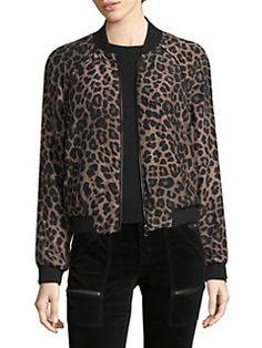 Joie - Julita Printed Silk Bomber Jacket