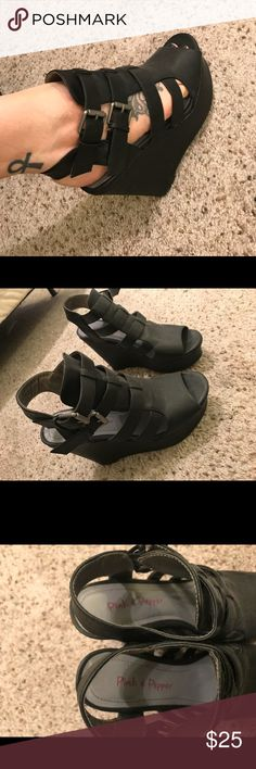 Black buckle strap wedge heels Super chic! Worn only a couple times Left top buckle strap loop missing (Pictured in 6th photo) pink and pepper Shoes Wedges
