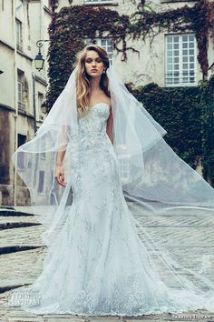 sabrina dahan bridal fall 2016 sleeveless strapless sweetheart neckline bustier bodice lace embroidered drop waist a line wedidng dress odette