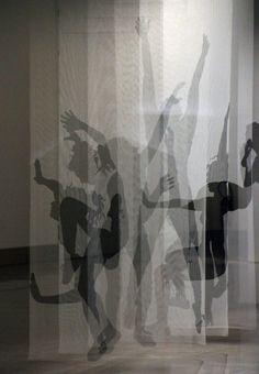 Pia Männikkö: Déjà Vu VII, 2019 Déjà Vu -installations consist of hand painted and life size ink silhouettes on tulle fabrics. This installation was in HUMANS, the edition of Miniartextil -exhibition in Le Beffroi, Montrouge, Paris. Fabric Installation, Light Installation, Instalation Art, Shadow Art, A Level Art, Stage Design, Art Plastique, Magazine Art, Light Art