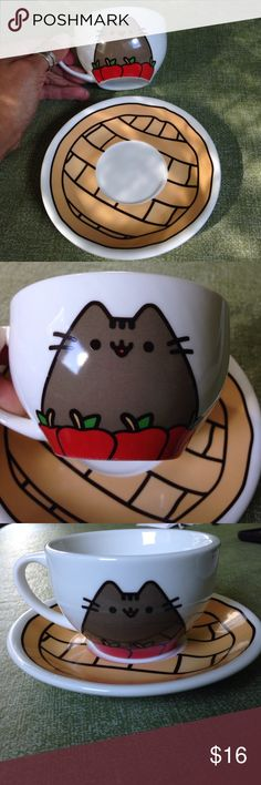 Pusheen Cat Apple Pie Teacup & Saucer Mug Cute Super cute Pusheen cat cup and saucer! For tea, coffee, milk. Just adorable. In like new condition. Back of cup just white. No markings on bottom of cup or saucer. Other