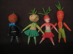 Spun Cotton Veggie people by maria pahls