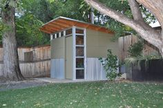 modern shed. corrugated metal siding on part of exterior only?