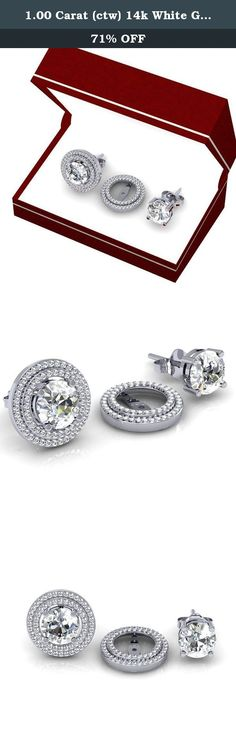 1.00 Carat (ctw) 14k White Gold Round White Diamond Double Row Removable Jackets for Stud Earrings 1 CT. This lovely diamond Jackets feature 1.00 ct white diamonds in Prong setting. All diamonds are sparkling and 100% natural. All our products with FREE gift box and 100% Satisfaction guarantee. Only the jackets are for sale. Inner Diameter is 10.1 mm and Outer diameter is 16.7 mm. Can be fit with 9 mm Each Round shape Center Diamond. SKU # K2022.