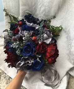 Items similar to Wedding Bouquet Burgundy Navy Blue Red Peony Steel Silver Eucalyptus Wedding Maroon Grey Package Artificial Faux Flowers Wedding Decor on Etsy Burgundy Silver Wedding, Burgundy And Grey Wedding, Navy Blue Wedding Cakes, Maroon Wedding, Blue And Silver, Wedding Black, Navy Bouquet, Red Bouquet Wedding, Wedding Flowers