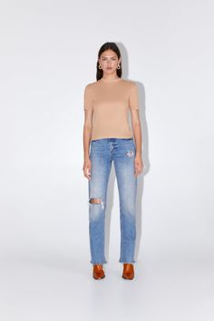 Women's T-shirts | New Collection Online | ZARA United Kingdom Linen Tshirts, Zara Women, High Collar, Mock Neck, Colorful Shirts, Camisole Top, Short Sleeves, T Shirts For Women, Female