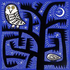 """""""Owl at Night"""" by Hilke MacIntyre (linocut)"""