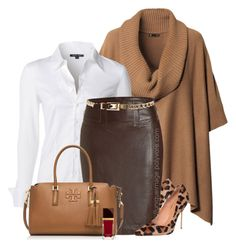 """Brown Poncho, Leopard Pumps"" by uniqueimage ❤ liked on Polyvore featuring H&M, NIC+ZOE, Kurt Geiger, New Look and Tory Burch"