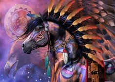 Native American War Horses | via Native American Art | War Horse