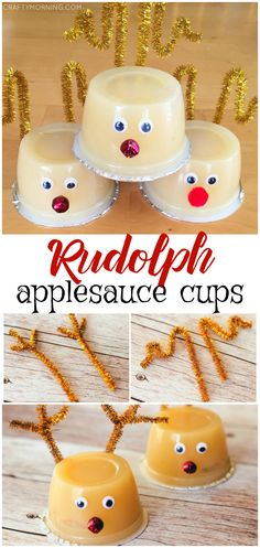 christmas snacks Make adorable Rudolph the reindeer applesauce cups for a kids snack to bring at Christmas time for their friends! Christmas Party Snacks, School Christmas Party, Preschool Christmas, Toddler Christmas, Christmas Gifts For Kids, Christmas Activities, Holiday Fun, Christmas Time, Christmas Recipes