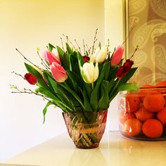 Tulips with birch