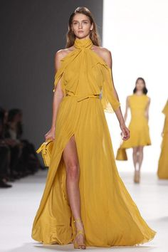 Elie Saab Ready To Wear Spring Summer 2012 Paris Ellie Saab, Vestidos Fashion, Fashion Dresses, Couture Fashion, Runway Fashion, Elie Saab Couture, Gala Dresses, Club Dresses, Yellow Fashion