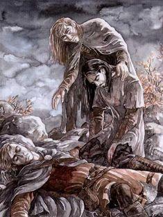 Túrin Turambar unwittingly slays beloved Beleg Cúthalion as Gwindor looks on (Silmarillion / Children of Hurin)