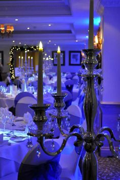 Blue uplighting for a wedding at the Compleat Angler Compleat Angler, Mood Light, Event Lighting, Fairy Lights, Lanterns, Candles, Blue, Wedding, Valentines Day Weddings