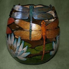 dragonfly painted gourd