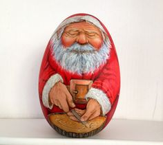 Santa Claus is carving. by WoodenEggArt on Etsy