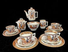 RARE Staffordshire Childs Polychrome Tea Set ~ Little May with Apron ~ Allerton