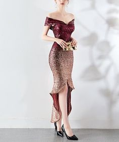 YIDINGZS New Arrive Women Elegant Sequin Evening Dress Short Front Long Back Sparkle Party Dress Item Type: Evening Dresses Occasion: Formal Evening Necklin Hi Low Dresses, Elegant Dresses, Short Dresses, Sequin Evening Dresses, Evening Dresses Online, Best Party Dresses, Ideias Fashion, Sequins, Red Gold
