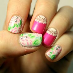 PackAPunchPolish: Nail Art : Watercolor Floral and Neon Pink and White Lace Inspired by Clothing from Deb Shops