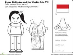 First Grade Geography Paper Dolls Community & Cultures Worksheets: Paper Dolls Around the World: Indonesia