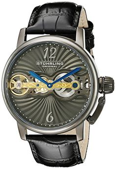 Stuhrling Original Mens 72902 Legacy Mechanical Hand Wind Skeleton Black Leather Strap Watch -- You can find out more details at the link of the image.