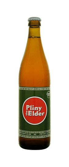 """Russian River """"Pliny the Elder""""-Double IPA.Pliny the Elder is brewed with Amarillo, Centennial, CTZ, and Simcoe hops. It is well-balanced with malt, hops, and alcohol, slightly bitter with a fresh hop aroma of floral, citrus, and pine. Best enjoyed FRESH!  Actual bottling date is printed on each bottle! 8%"""