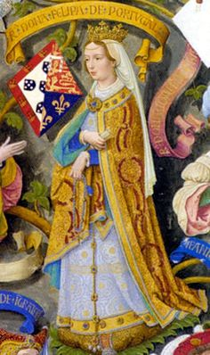Philippa of Lancaster consort of Portugal due to her marriage to King John I of Portugal. Source-Image taken from The Portuguese Genealogy/ Genealogia dos Reis de Portugal. Originally published in Portugal (Lisbon), John Of Gaunt, British Library, Portuguese Royal Family, Duke Of Lancaster, History Of Portugal, Wars Of The Roses, Plantagenet, British History, European History